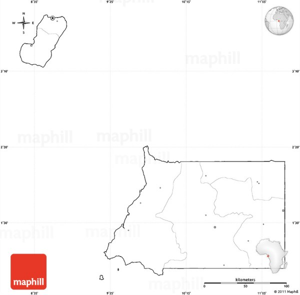 Blank Simple Map of Equatorial Guinea cropped outside no