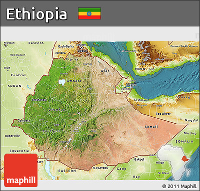 Satellite 3D Map of Ethiopia, physical outside, satellite sea