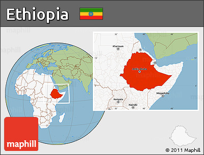 Free Savanna Style Location Map of Ethiopia highlighted