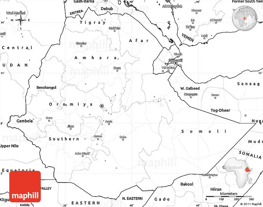 Blank Simple Map of Ethiopia