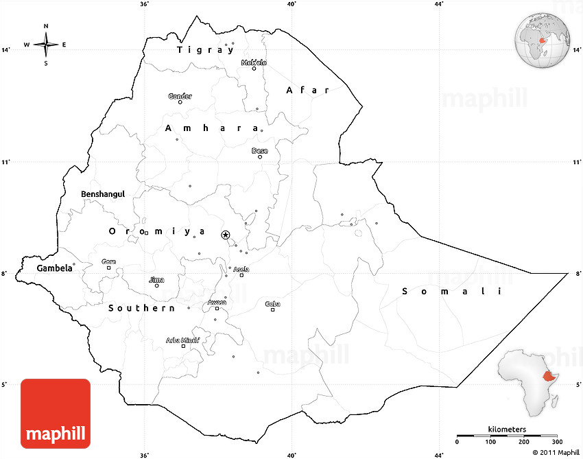 Blank Simple Map of Ethiopia, cropped outside