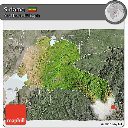 Satellite 3D Map of Sidama, semi-desaturated