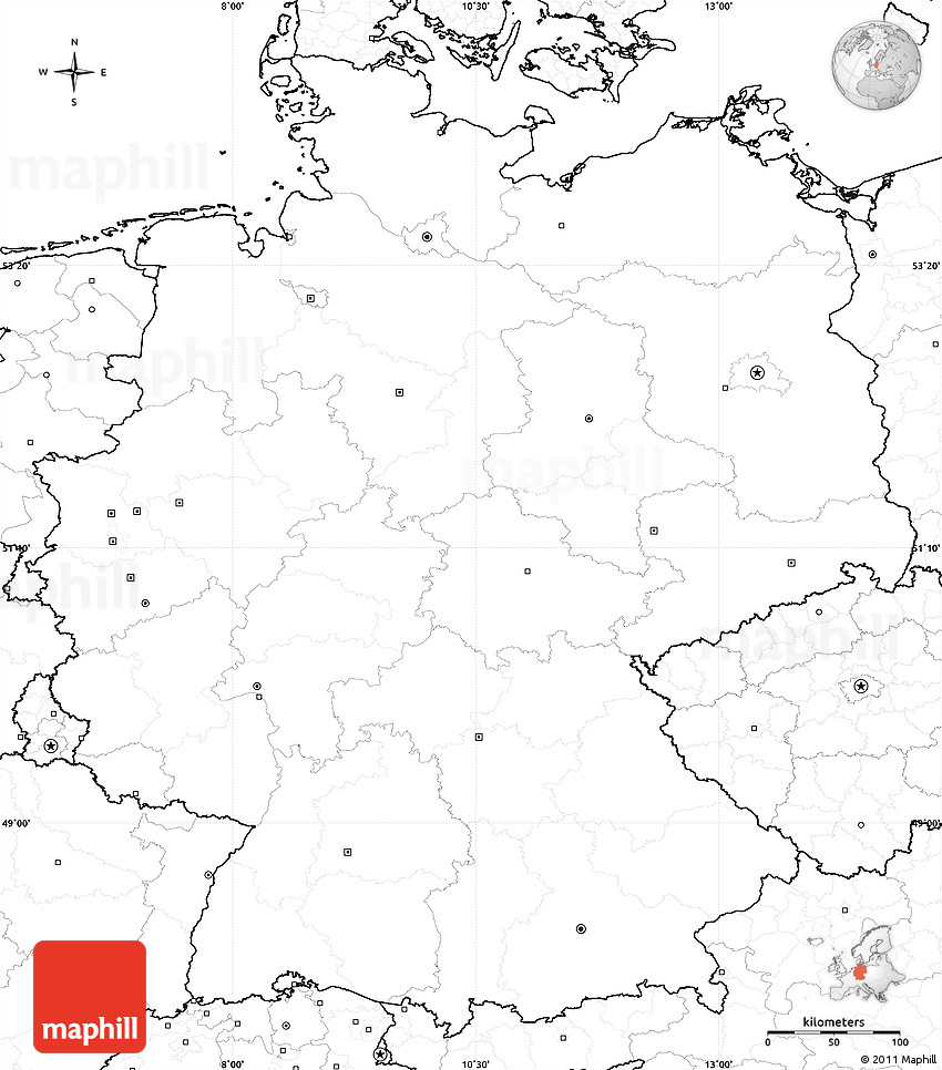 Blank Simple Map of Germany, no labels