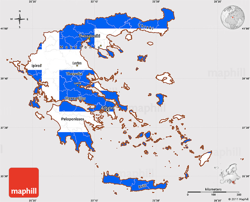 Flag Simple Map Of Greece