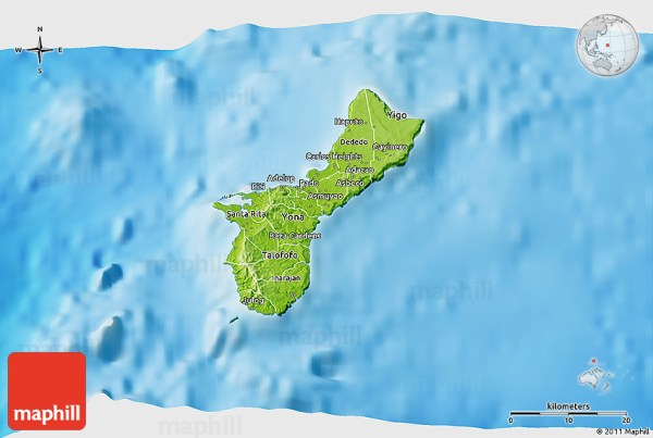 Physical 3D Map of Guam