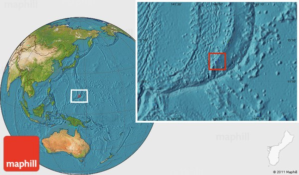 Flag Location Map of Guam satellite outside