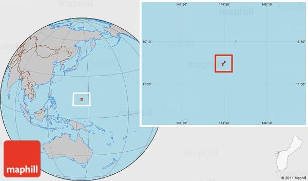 Gray Location Map of Guam