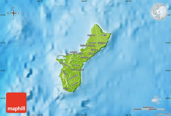 Physical Map of Guam