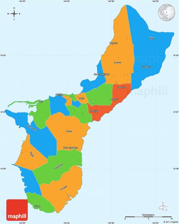 Political Simple Map of Guam single color outside
