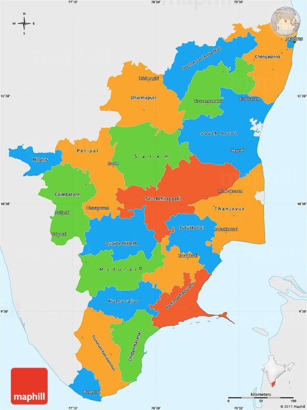 Political Simple Map of Tamil Nadu single color outside