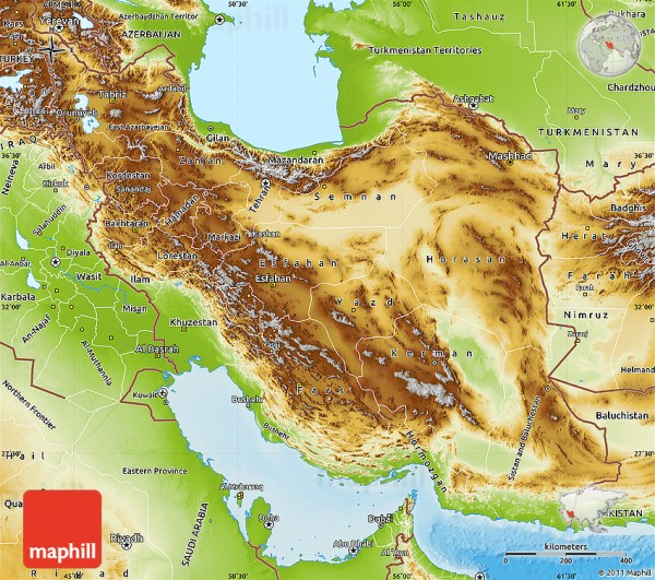 Physical Map of Iran