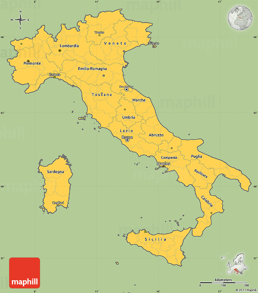 Savanna Style Simple Map Of Italy Cropped Outside