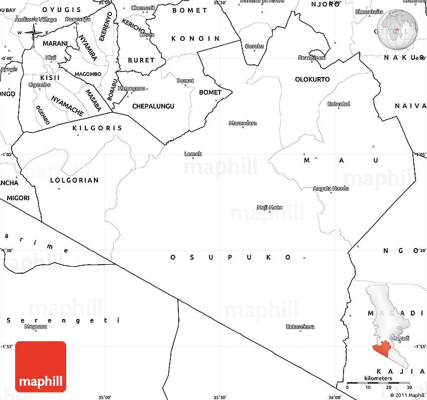 Blank Simple Map of NAROK