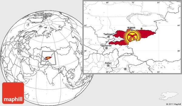 Flag Location Map of Kyrgyzstan blank outside
