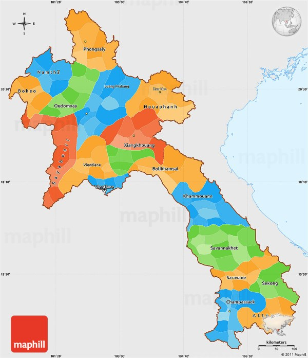 Laos Politische Karte