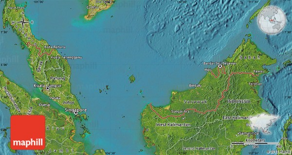 Satellite Map of Malaysia
