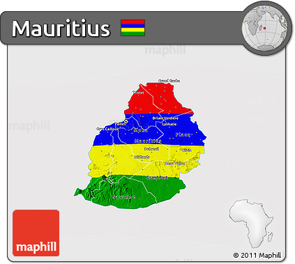 Free Flag 3D Map of Mauritius