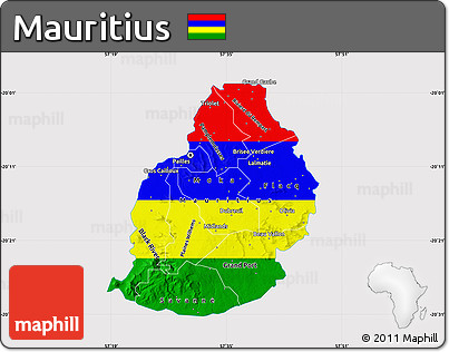 Free Flag Map of Mauritius