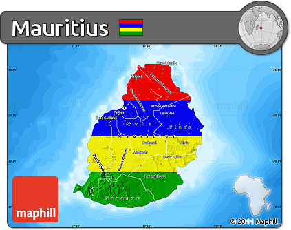 Free Flag Map of Mauritius single color outside