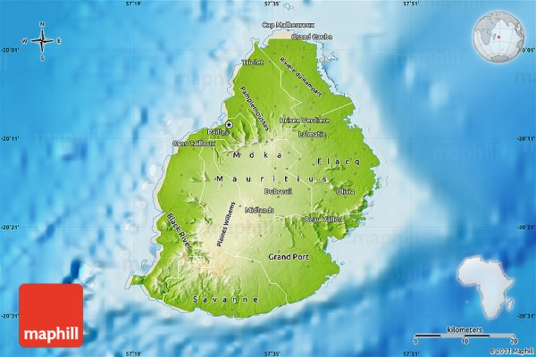 Physical Map of Mauritius shaded relief outside