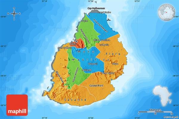 Political Map of Mauritius darken land only