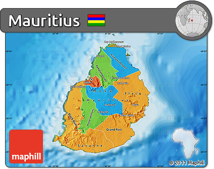 Free Political Map of Mauritius satellite outside