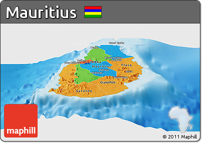 Free Political Panoramic Map of Mauritius single color