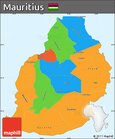 Free Political Simple Map of Mauritius