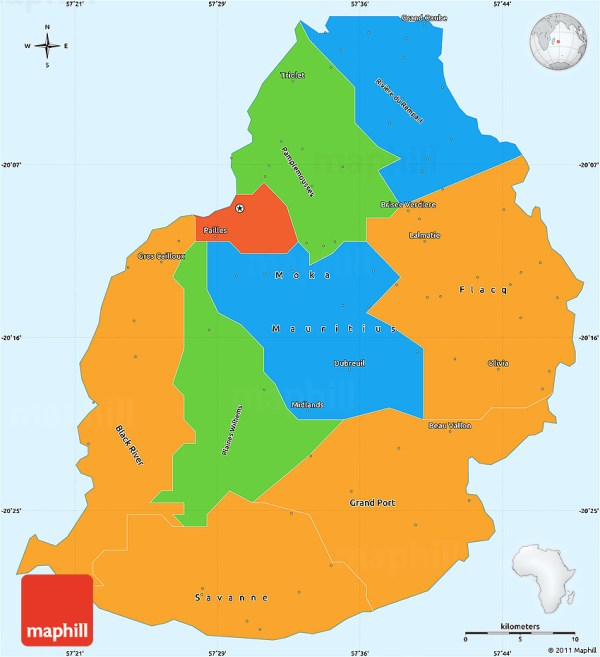 Political Simple Map of Mauritius