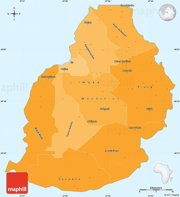 Political Shades Simple Map of Mauritius
