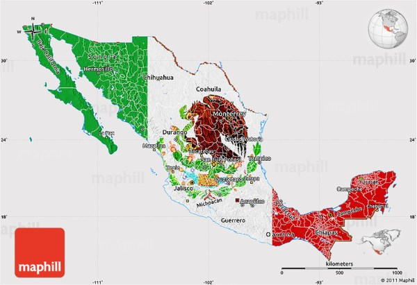 Flag Map of Mexico