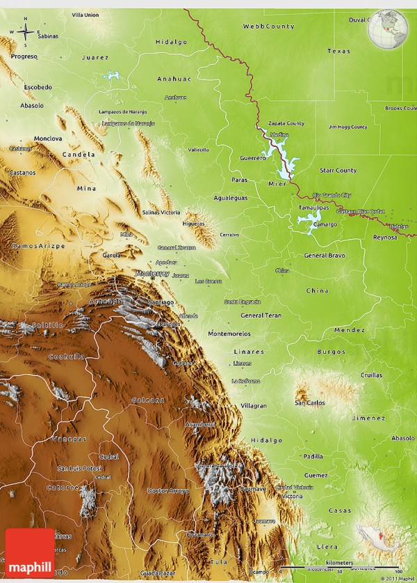 Physical 3D Map of Nuevo Leon