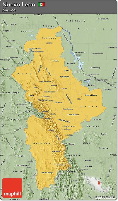 Free Savanna Style Map of Nuevo Leon