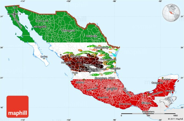 Flag Simple Map of Mexico single color outside flag rotated