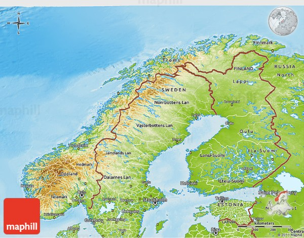 Physical 3D Map of Norway