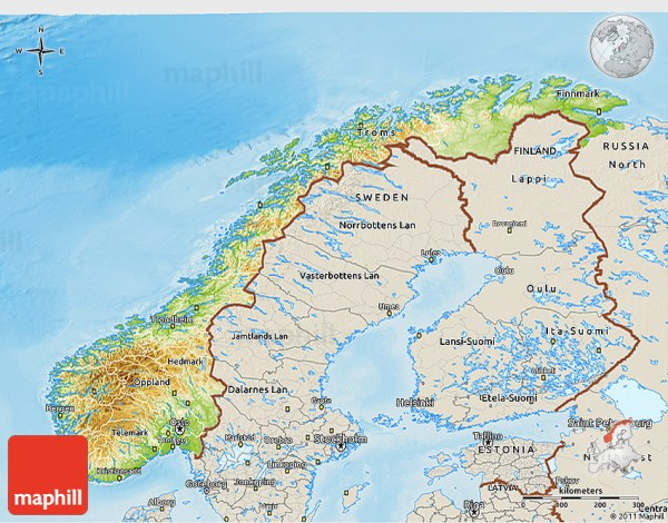 Physical 3D Map of Norway shaded relief outside