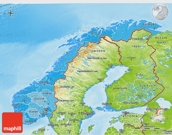 Political Shades 3D Map of Norway physical outside