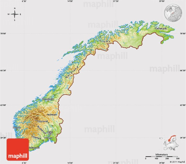 Physical Map of Norway cropped outside