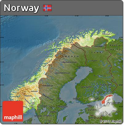 Free Physical Map of Norway darken