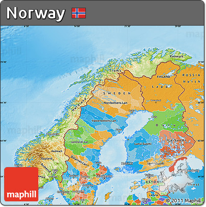 Free Physical Map of Norway political outside shaded