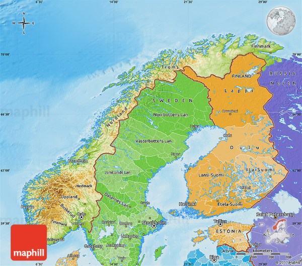 Physical Map of Norway political shades outside shaded