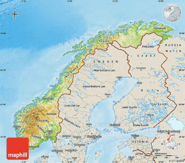 Physical Map of Norway shaded relief outside