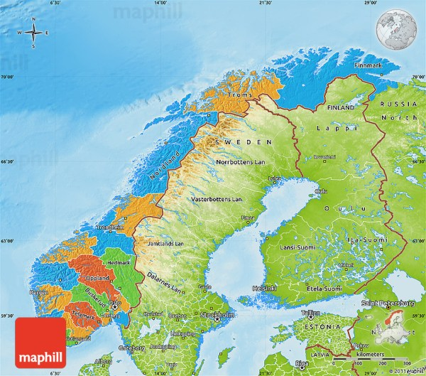 Political Map of Norway physical outside