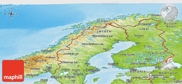 Physical Panoramic Map of Norway