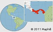 Free Savanna Style Location Map of Panama highlighted