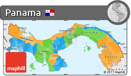 Free Political Simple Map of Panama single color outside