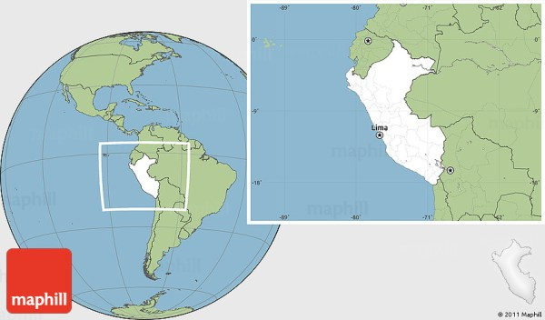 Blank Location Map of Peru savanna style outside