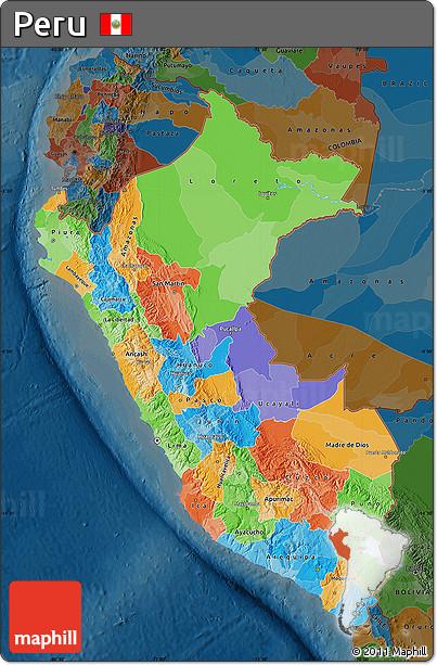 Free Political Map of Peru darken