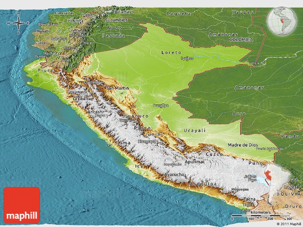 Physical Panoramic Map of Peru satellite outside