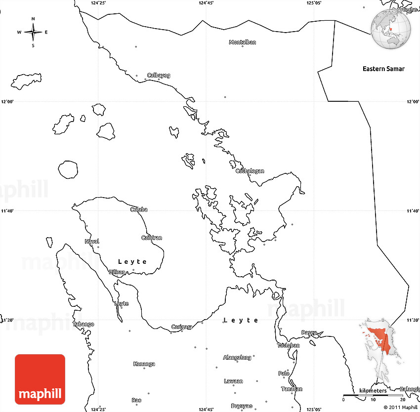 Blank Simple Map of Western Samar